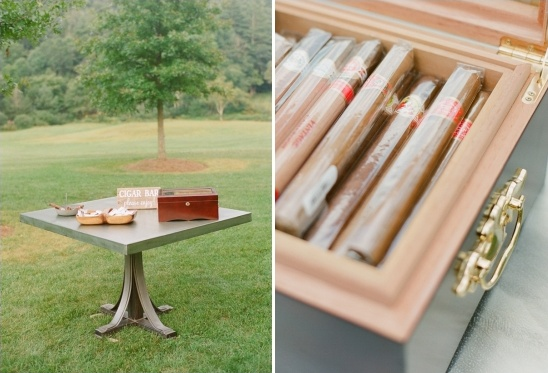 cigar bar at a wedding reception