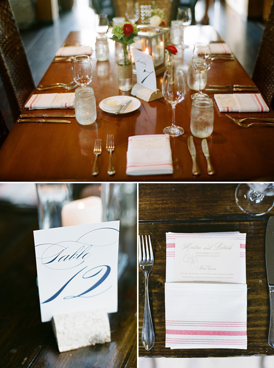 wedding table number and menu ideas