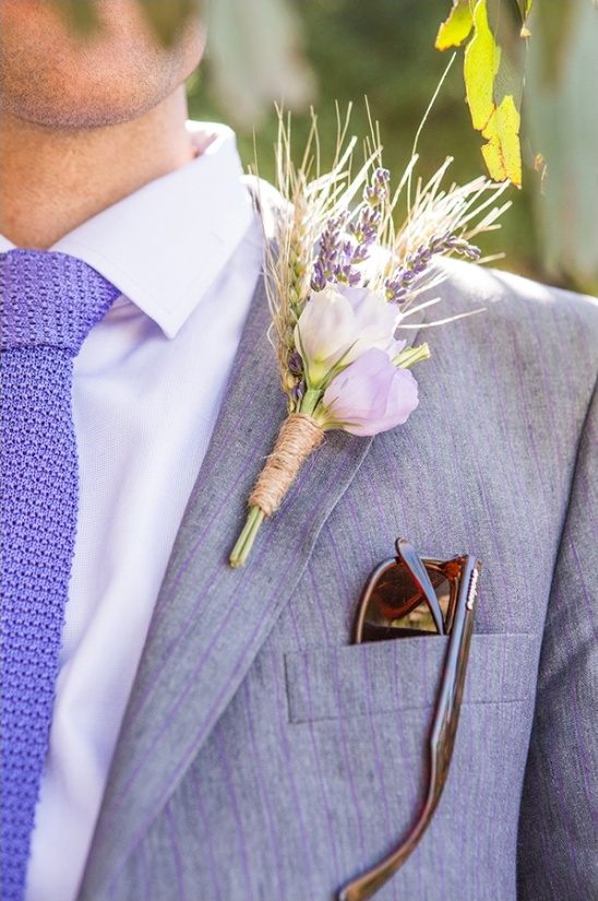 wheat and lavender boutonniere