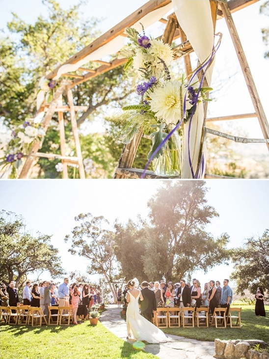 wooden ladder wedding arch