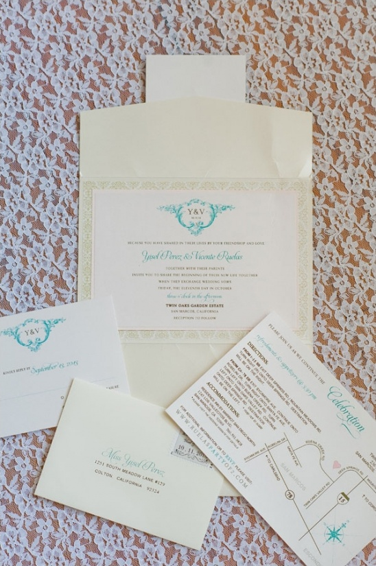 elegant brown and turquoise wedding stationery