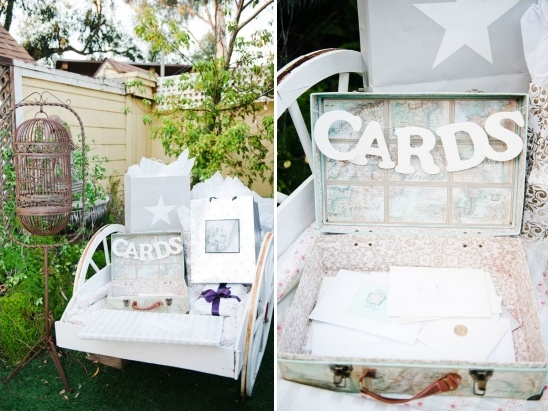 wagon for wedding gifts and vintage suitcase for cards