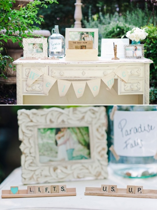 wedding welcome table with scrabble sign