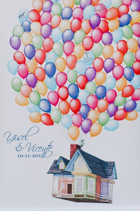 illustrated wedding guestbook idea based on disney's up