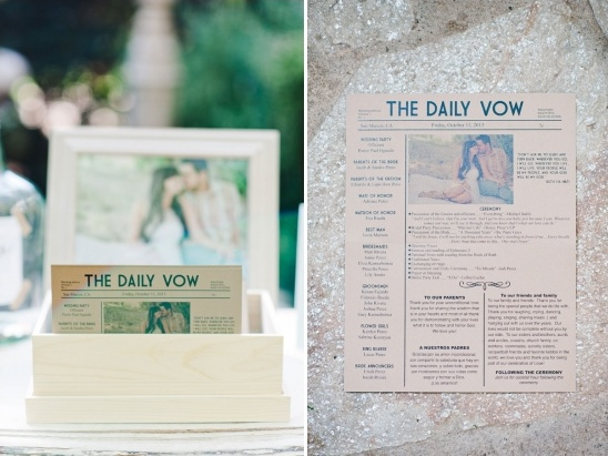 newspaper-like wedding ceremony program