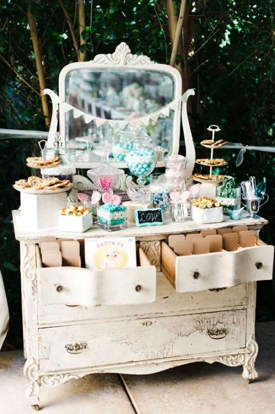 vintage vanity used for candy bar at a wedding
