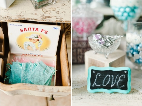 candy table bags and chalkboard sign