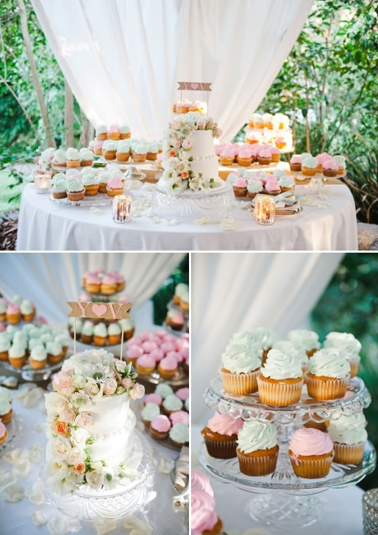 mint and pink wedding cake table ideas