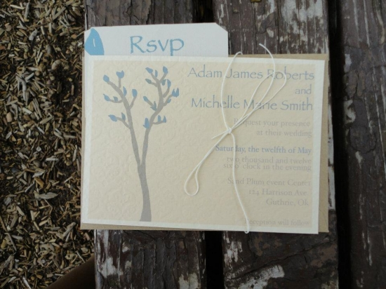 Rustic Trees with Blue Leaves Wedding Invitation