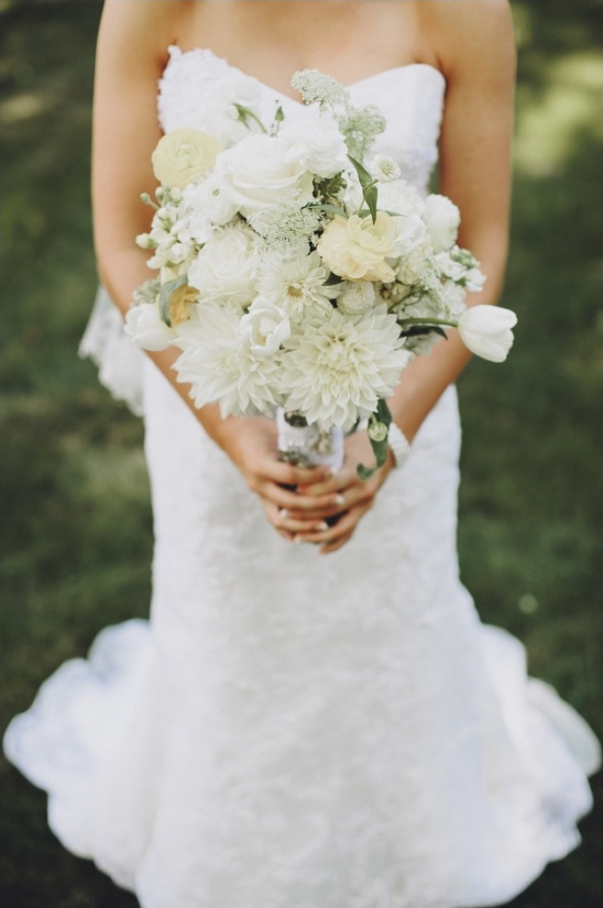white bridal bouquet by andrea's design