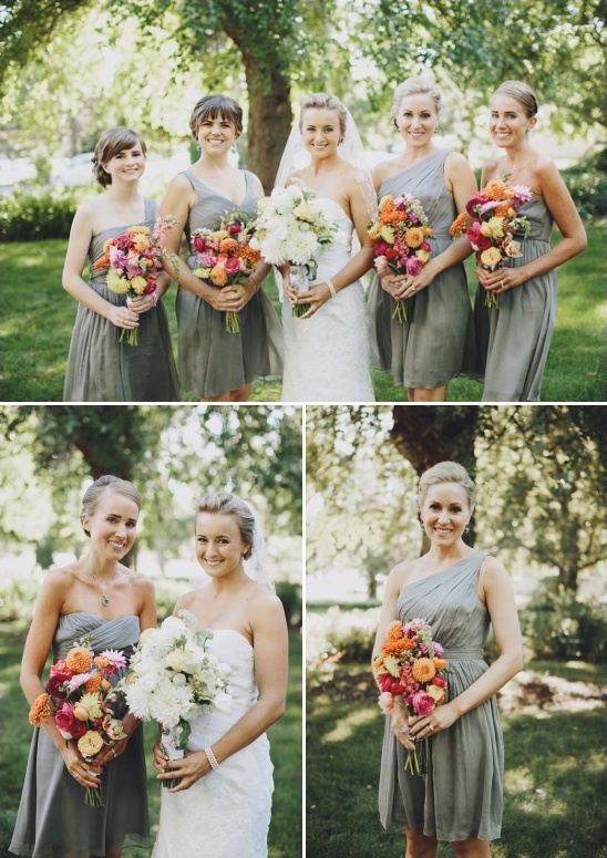 gray bridesmaid dresses with colorful bouquets