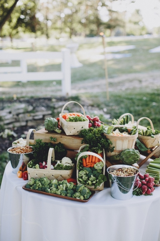 veggie table at wedding cocktail hour
