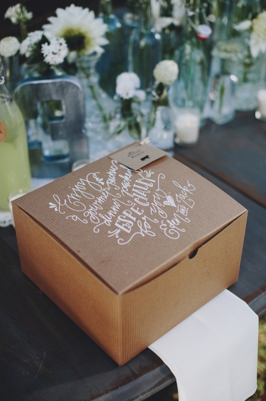 calligraphy on dinner boxes by the pretty paperie