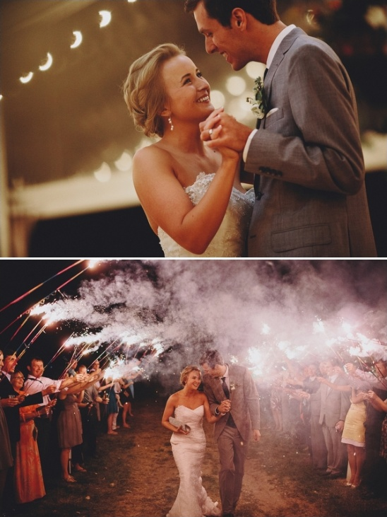 wedding dancing and a sparkler exit