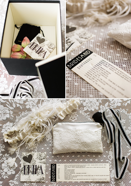 black and white bridesmaid gift with detailed schedule