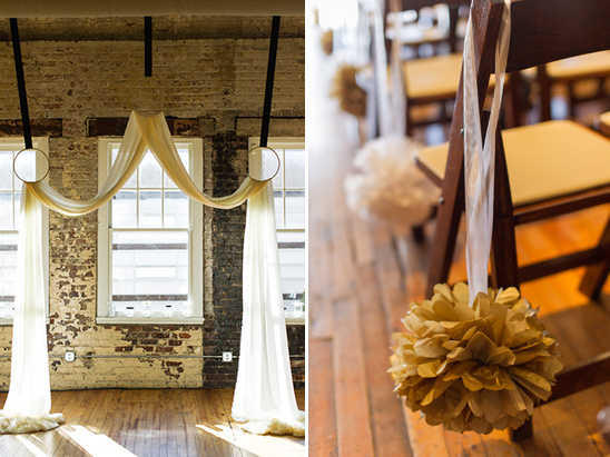 simple gold and white wedding ceremony decor