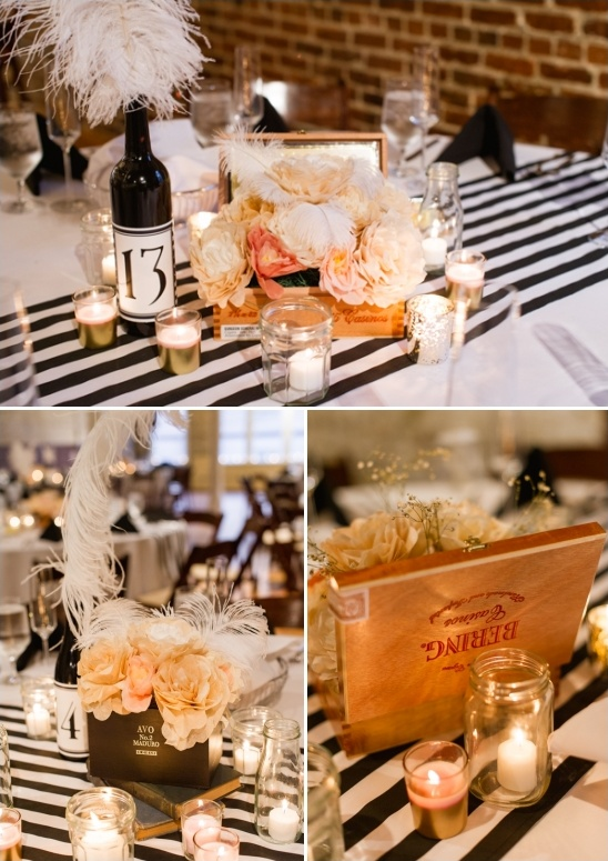 vintage cigar boxes as table centerpieces