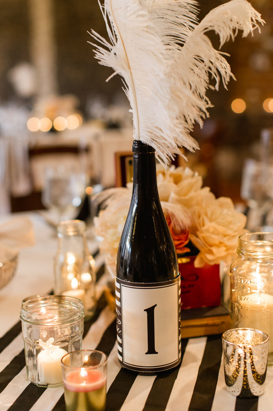 wine bottles with custom labels as table numbers