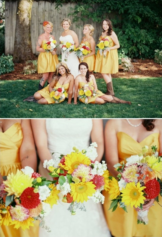 yellow bridesmaid dresses with cowgirl boots