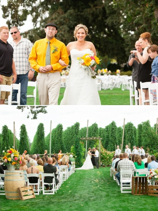 outdoor wedding ceremony at a hops farm