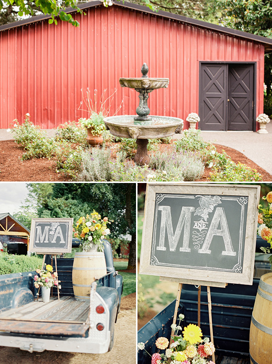 monogram wedding chalkboard on a vintage truck