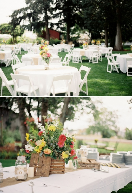 outdoor wedding reception on a farm
