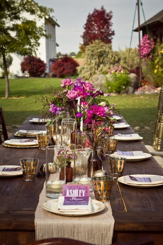 elegant outdoor reception table decor