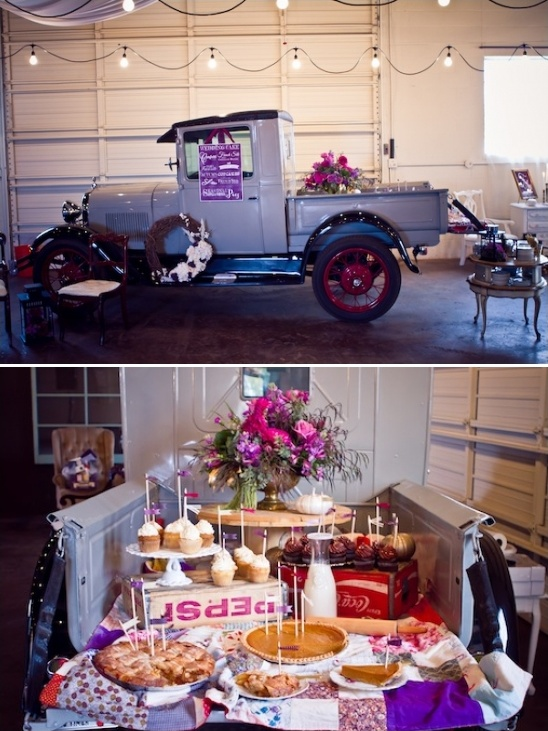 vintage pickup as dessert table