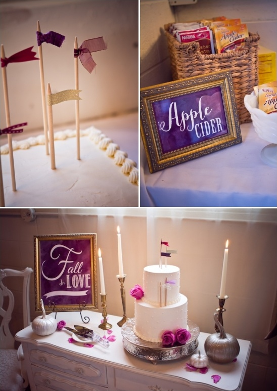vintage cake table with mini flag cake topper