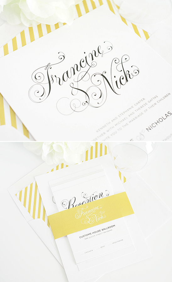 white and gold wedding invites