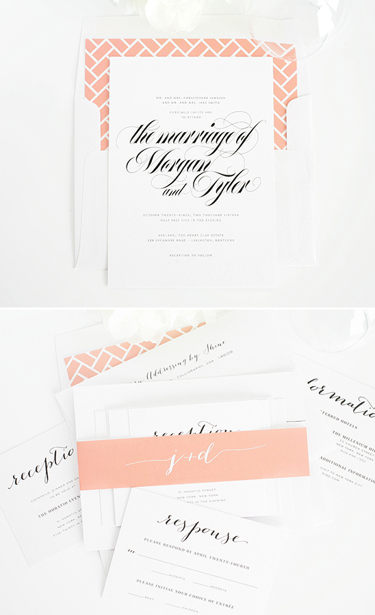 peach wedding invites