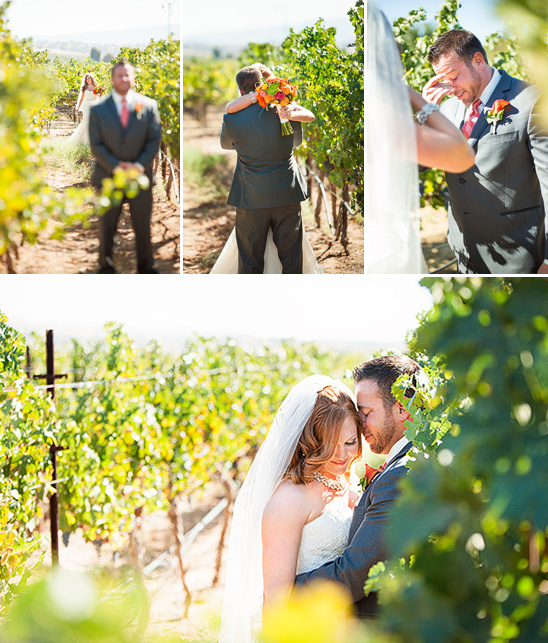 first wedding look in a vineyard