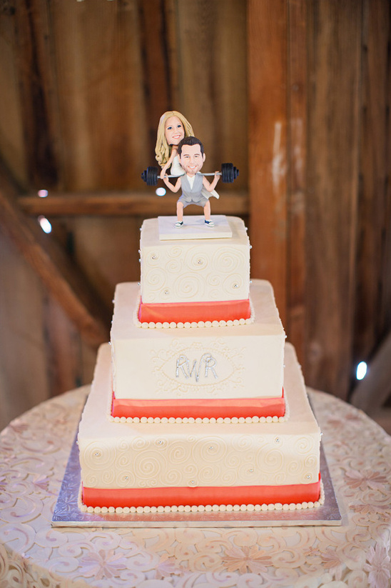 coral and white wedding cake by Cake Delight