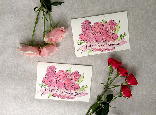 Pretty in Pink Bridesmaid Cards