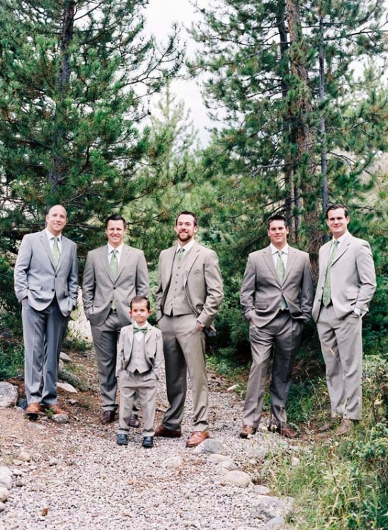 grey and green groomsmen
