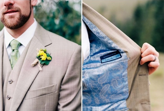 yellow boutonniere and wedding date patch inside grooms jacket