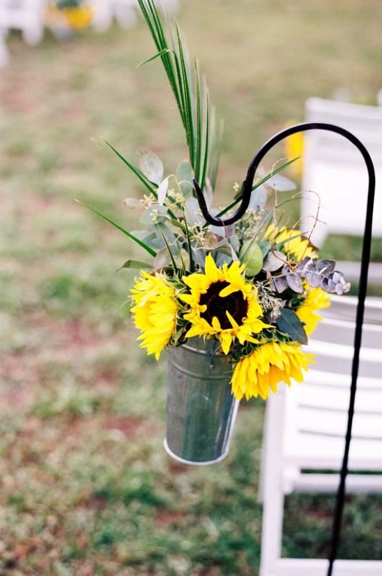 hanging sunflower aisle decor