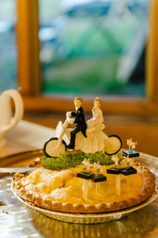 wedding pie with motorcycle topper
