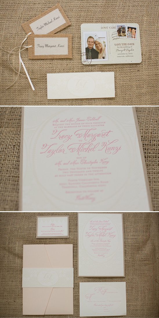 pink and burlap wedding invites by Pitbulls & Posies