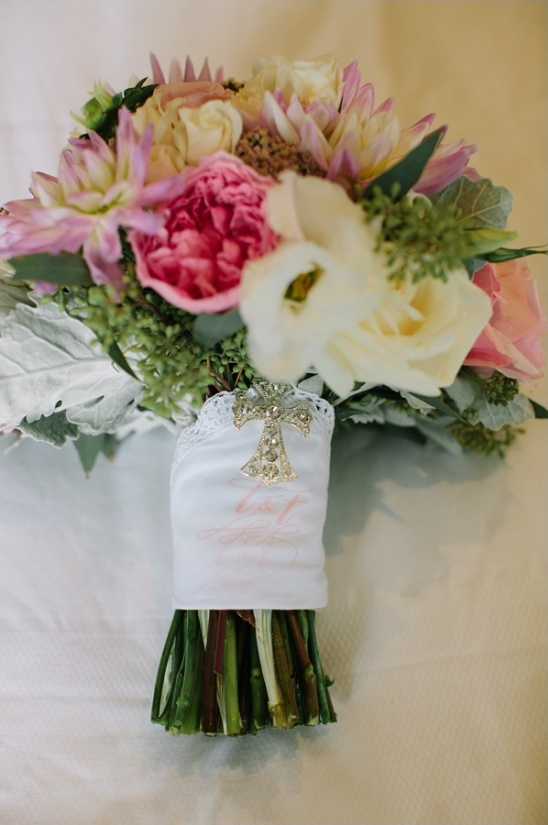 monogram wrapped bouquet