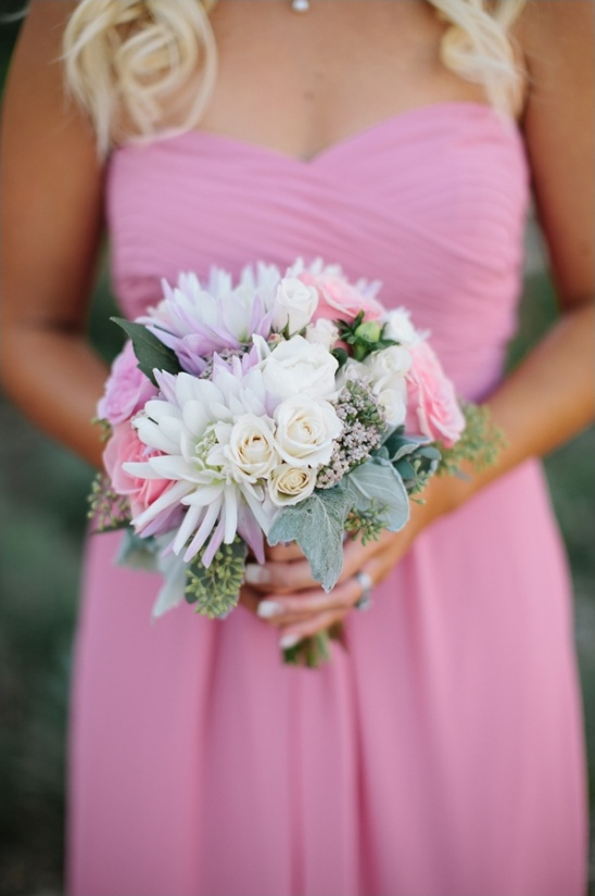 pink purple and white bridesmaid bouquet