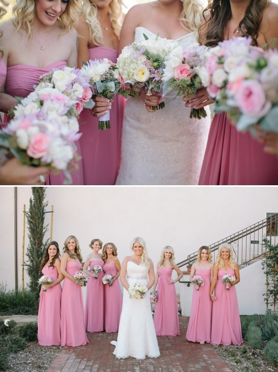 pink and white bridesmaid dress