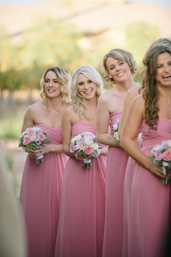 long pink bridesmaid dresses