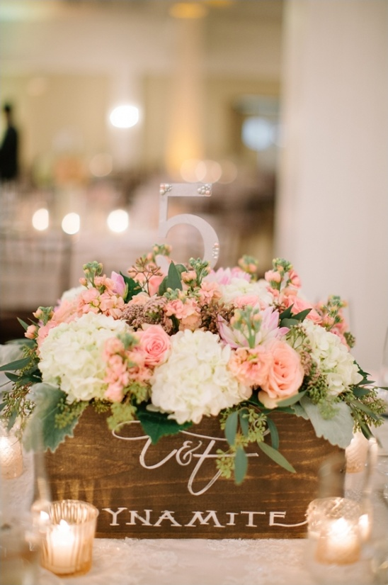faux dynamite boxes as table number centerpieces