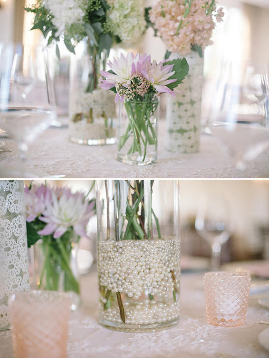 elegant centerpieces with floating pearls