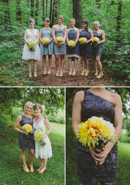 gray bridesmaid dresses with yellow shoes and bouquets