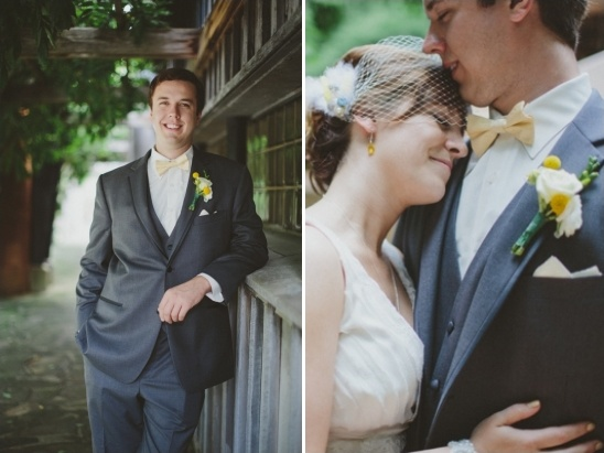 grey and yellow groom attire