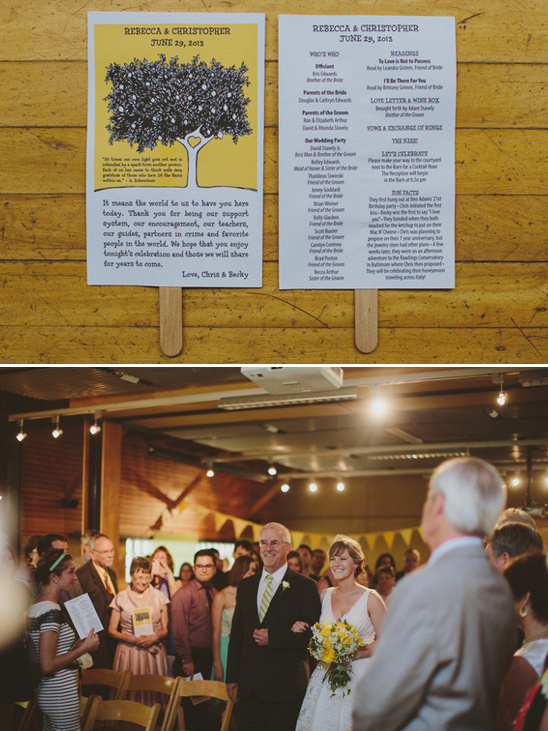 yellow and gray wedding program