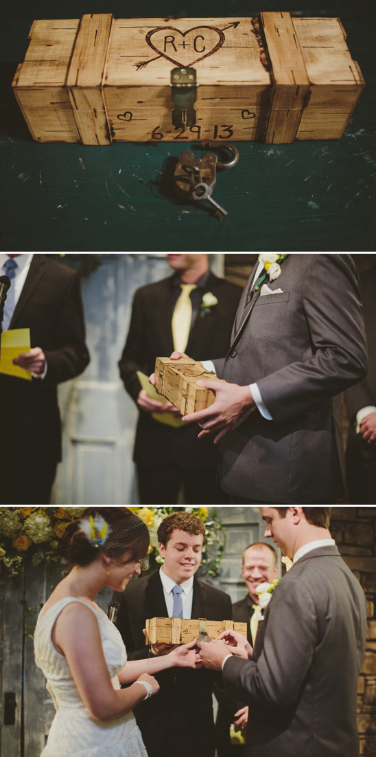 unlocking a wooden box in a wedding ceremony