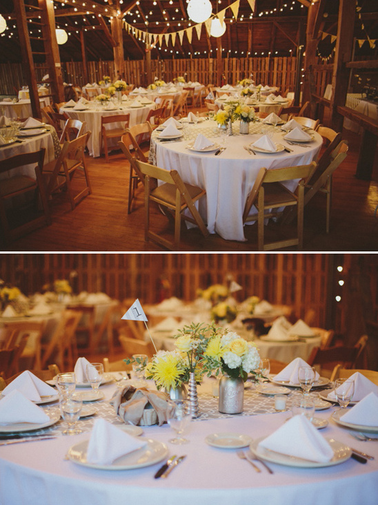 yellow and gray barn wedding reception